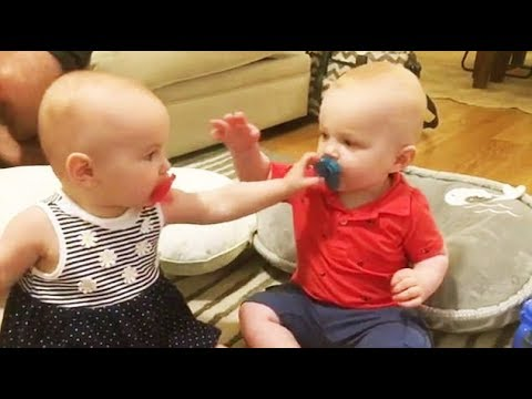 Try Not To Laugh - Twins Baby Fight Over Pacifier || Funny Vines Compilation