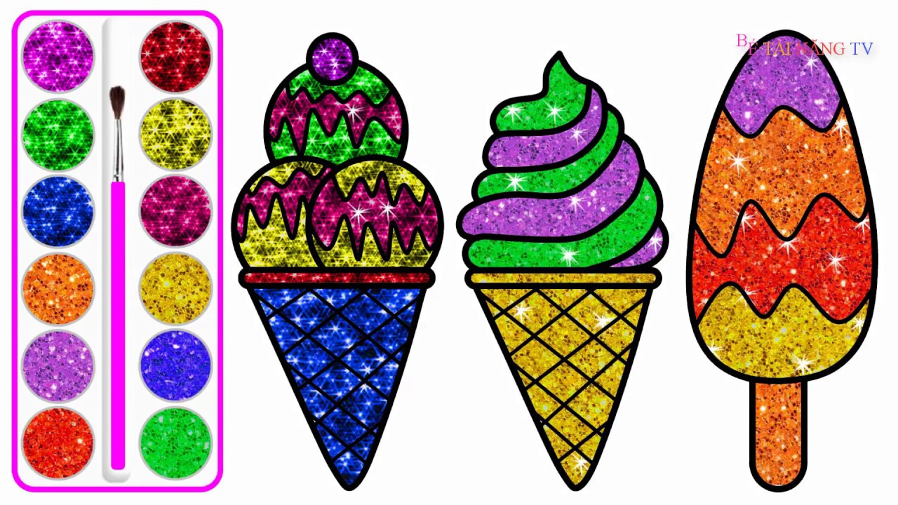 How to Draw Ice Cream with Colored Glitter | Glitter Ice Cream Drawing and Coloring 4 Kids